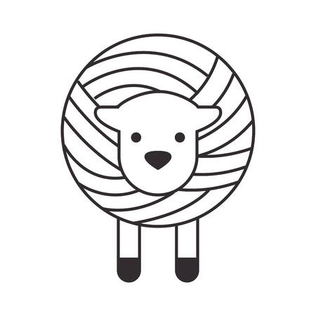 Wolle Rolle mit Schaf Vektor-Illustration Design Vektorgrafik