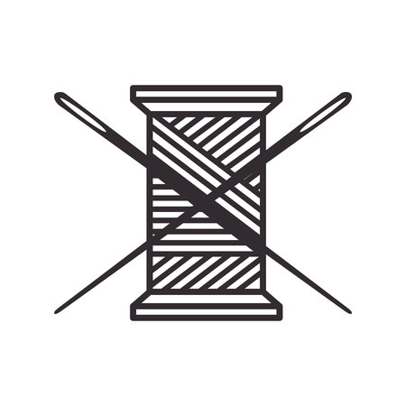 Thread roll and needle icon vector illustration design Illustration