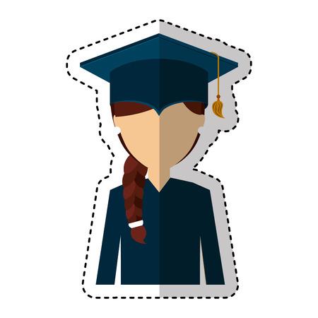 graduate woman avatar character vector illustration design