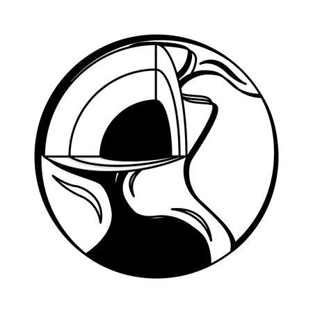 Welt Planeten Erde intern Symbol Vektor-Illustration, Design,
