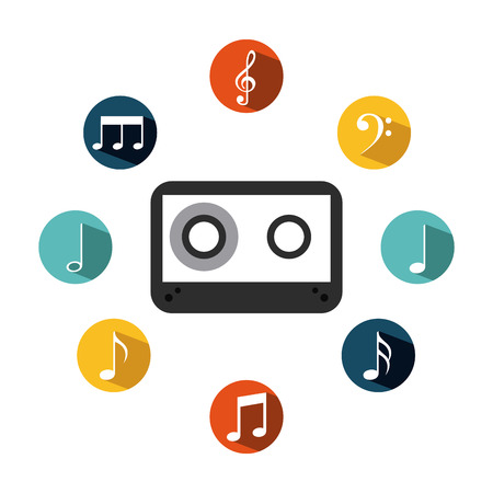 cassette with music icons around over white background. colorful design. vector illustration Illustration
