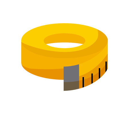 yellow measurement tape icon over white background. colorful design. vector illustration