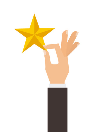 hand with golden star icon over white background. colorful design. vector illustration
