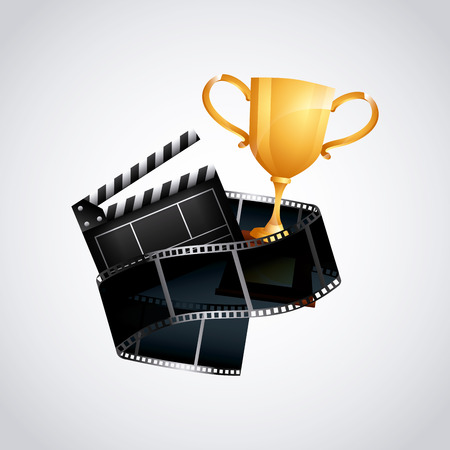 cinema viewing: trophy, clapboard and reel tape icon over white background. colorful design. vector illustration