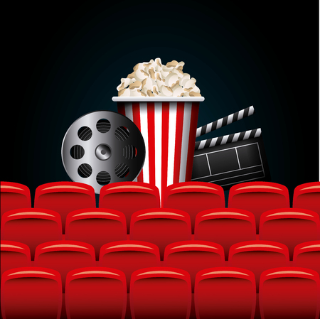 cinema viewing: reel, clapboard and pop corn bucket. colorful design. vector illustration
