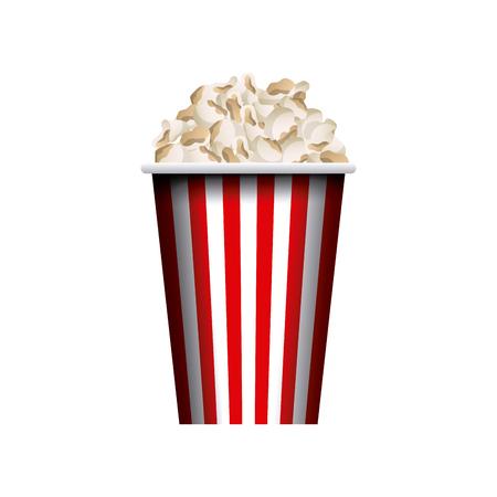 cinema viewing: pop corn bucket icon over white background. colorful design. vector illustration Illustration