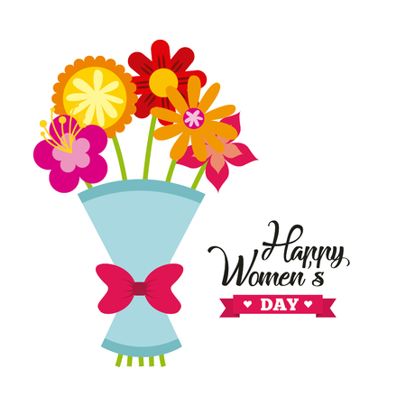 happy womens day card with flowers bouquet icon over white background. colorful design. vector illustration