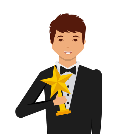 actor: actor holding a star trophy cartoon icon over white background. actors awards concept. colorful design. vector illustration Stock Photo