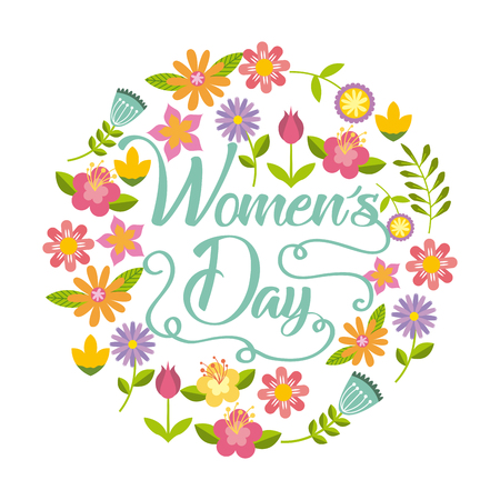 happy womens day card with beautiful flowers over white background. colorful design. vector illustration