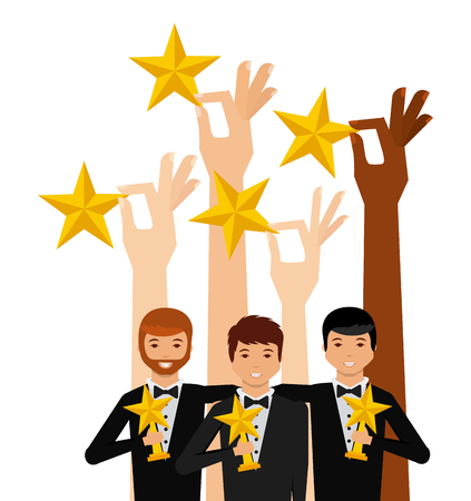 hands holding a golden stars and group of actors with star trophies over white background. colorful design. actors awards concept. vector illustration