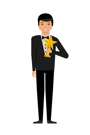 happy actor with star trophy over white background. colorful design. actors awards design. vector illustration Illustration