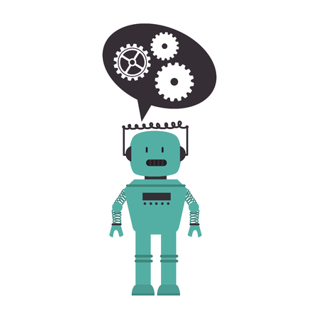 electronic robot with speech bubble card icon vector illustration design