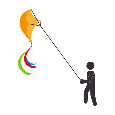 flying kite: kid flying kite icon vector illustration design