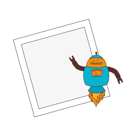 electronic robot with banner card icon vector illustration design