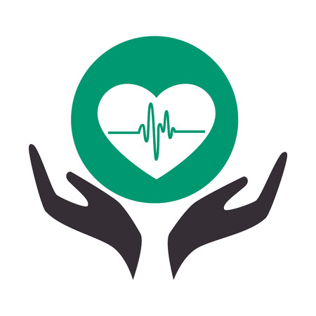 heart care insurance isolated icon vector illustration design