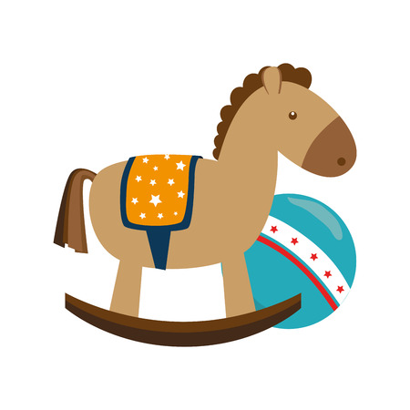 wooden horse: kids toys isolated icon vector illustration design