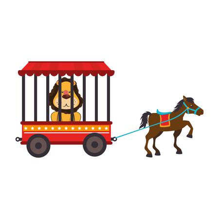 cute lion animal circus vector illustration design