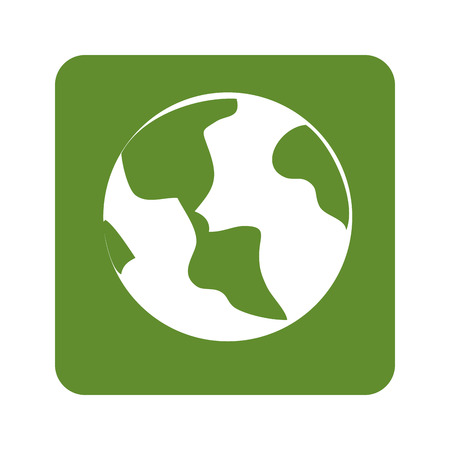 land development: green background with planet earth vector illustration