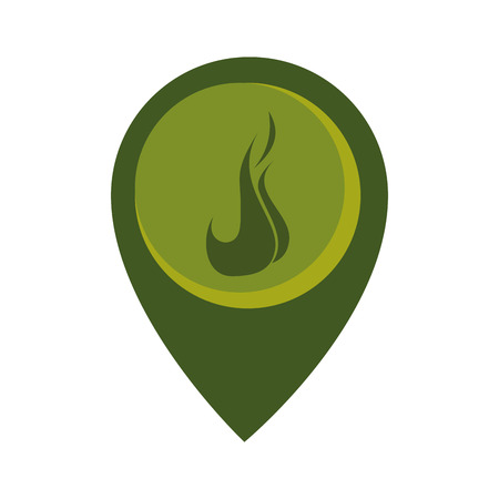 passion  ecology: map pointer with circle interior with flame vector illustration Illustration