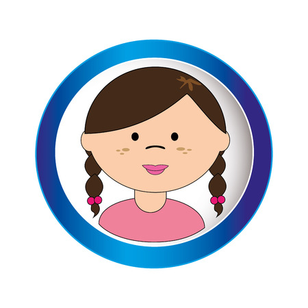 braided: brunette girl face with braided hair in circular frame vector illustration