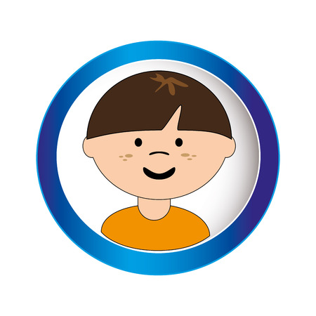 caucasian boy face with short hair in circular frame vector illustration Illustration