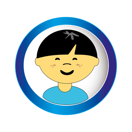 asian boy face with short hair in circular frame vector illustration
