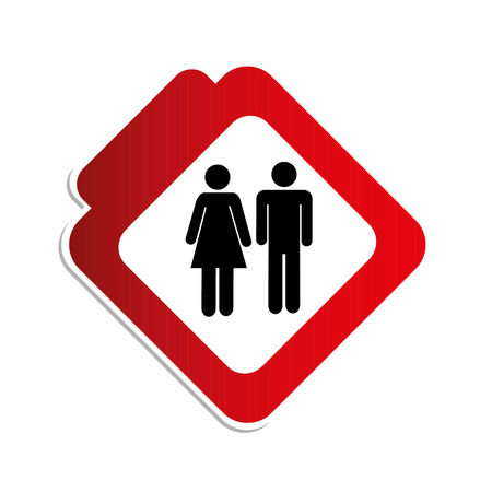 silhouette color road sign with pictogram man and woman vector illustration