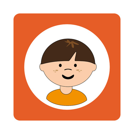 caucasian boy face with short hair in square frame vector illustration