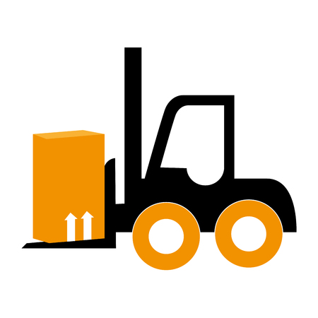 hydraulic lift: silhouette forklift truck with boxes vector illustration Illustration