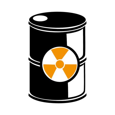 steel drum: silhouette barrels with radioactive materials vector illustration Illustration