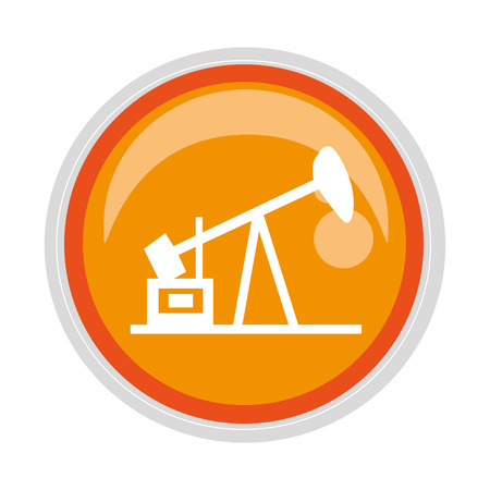 natural gas production: circular button with Oil extraction machine vector illustration