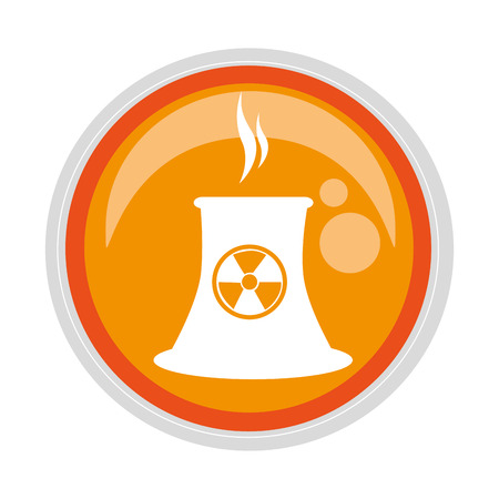 oil drum: circular button with factory radioactive materials vector illustration