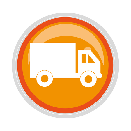tractor trailer: circular button transport truck with vagon and wheels vector illustration