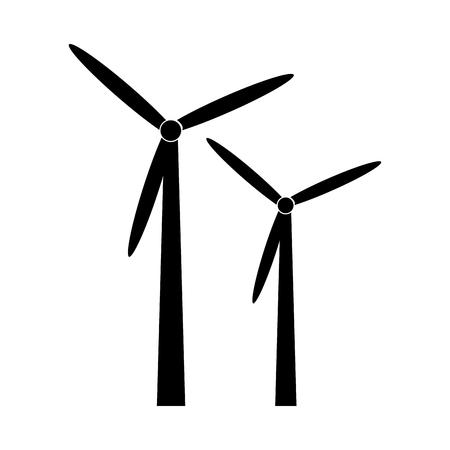 Siluetta nera del mulino a vento alternativa ed illustrazione di vettore dell'icona di energia rinnovabile Archivio Fotografico - 71262076