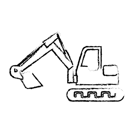 silhouette sketch blurred backhoe with crane for construction vector illustration