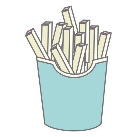 junkfood: silhouette pastel color fries portion vector illustration Illustration