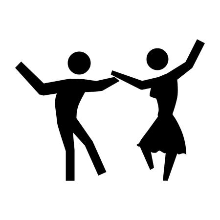 black people: black silhouette pictogram people dancing vector illustration Illustration