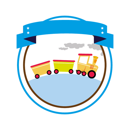 circular border with label and train toy vector illustration