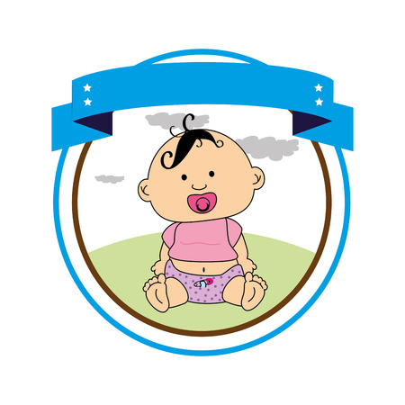circular border with label and baby boy vector illustration