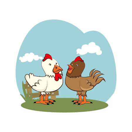 background farm with chicken animals vector illustration
