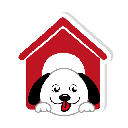 colorful dog animal pet in red house Illustration