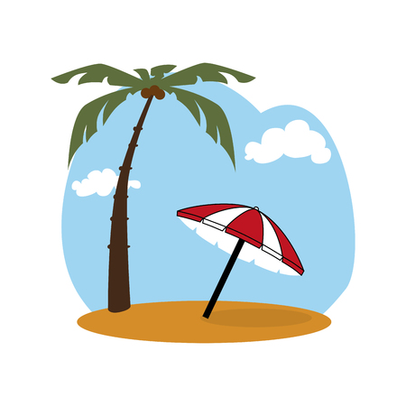 colorful background beach with umbrella vector illustration Illustration
