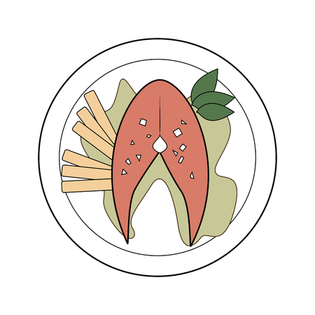 salmon fillet: color dish with fish steak with potatos and lettuce vector illustration