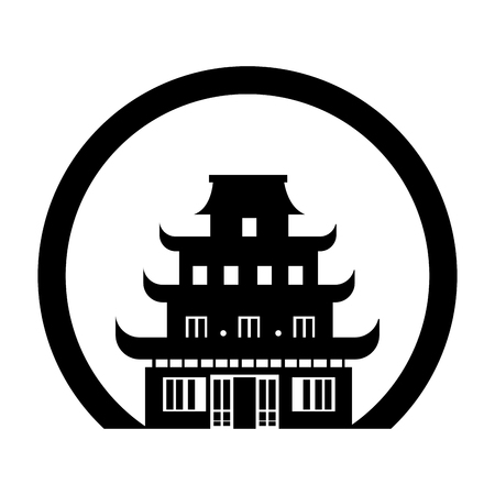 kyoto: monochrome circle contour with japanese temple vector illustration