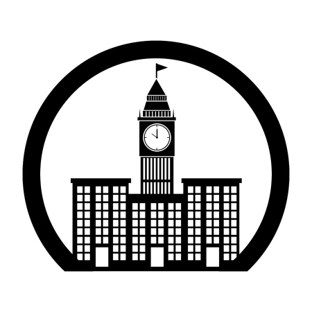 monochrome circle contour with buildings and elizabeth tower vector illustration Illustration