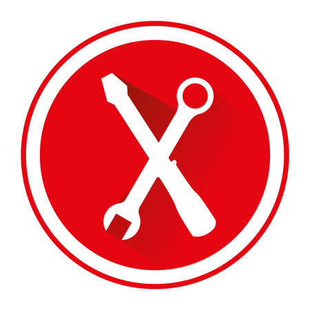 red circle with silhouette of wrench and screwdriver crossed vector illustration Illustration