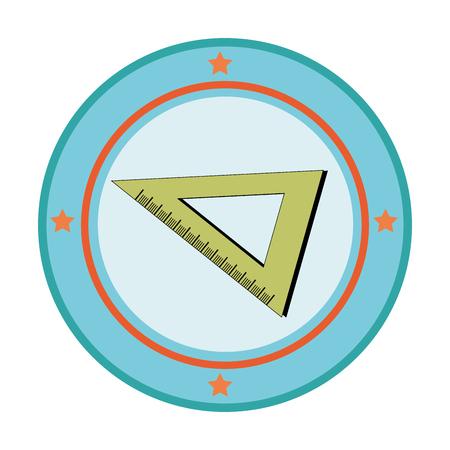 silueta color con ángulo regla en marco circular ilustración vectorial