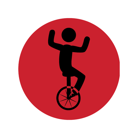 circular silhouette with man in unicycle vector illustration Illustration