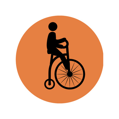 circular silhouette: circular silhouette with man in penny farthing vector illustration