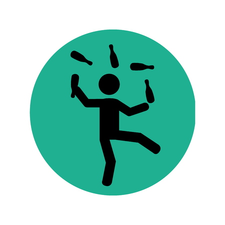 circular silhouette: circular silhouette with circus juggler vector illustration
